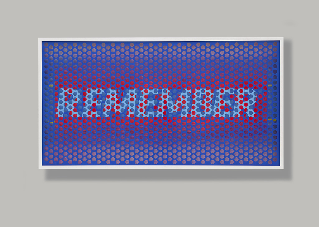 Sane Jung,Remember We Are Dust, perforated aluminum panel, acrylic, lacquer spray paint, masking vinyl tape, acrylic on paper, wooden frame, antireflection glass, 89.2 x 165.4 x 9.8, 2020.jpg
